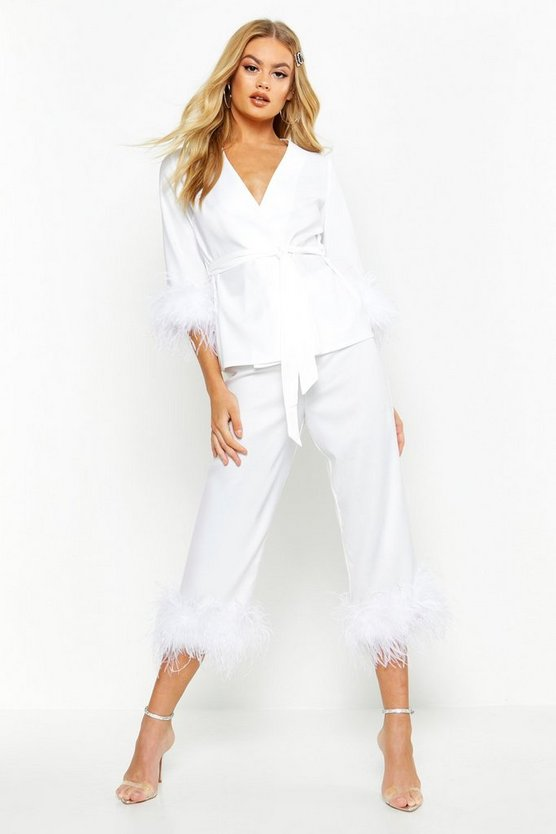 Womens White Premium Feather Trim Tailored Cropped Trouser