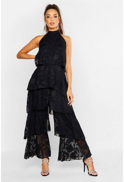 Womens Black Floral Frill Layered Jumpsuit