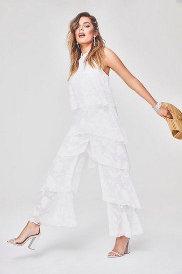 Womens White Floral Frill Layered Jumpsuit