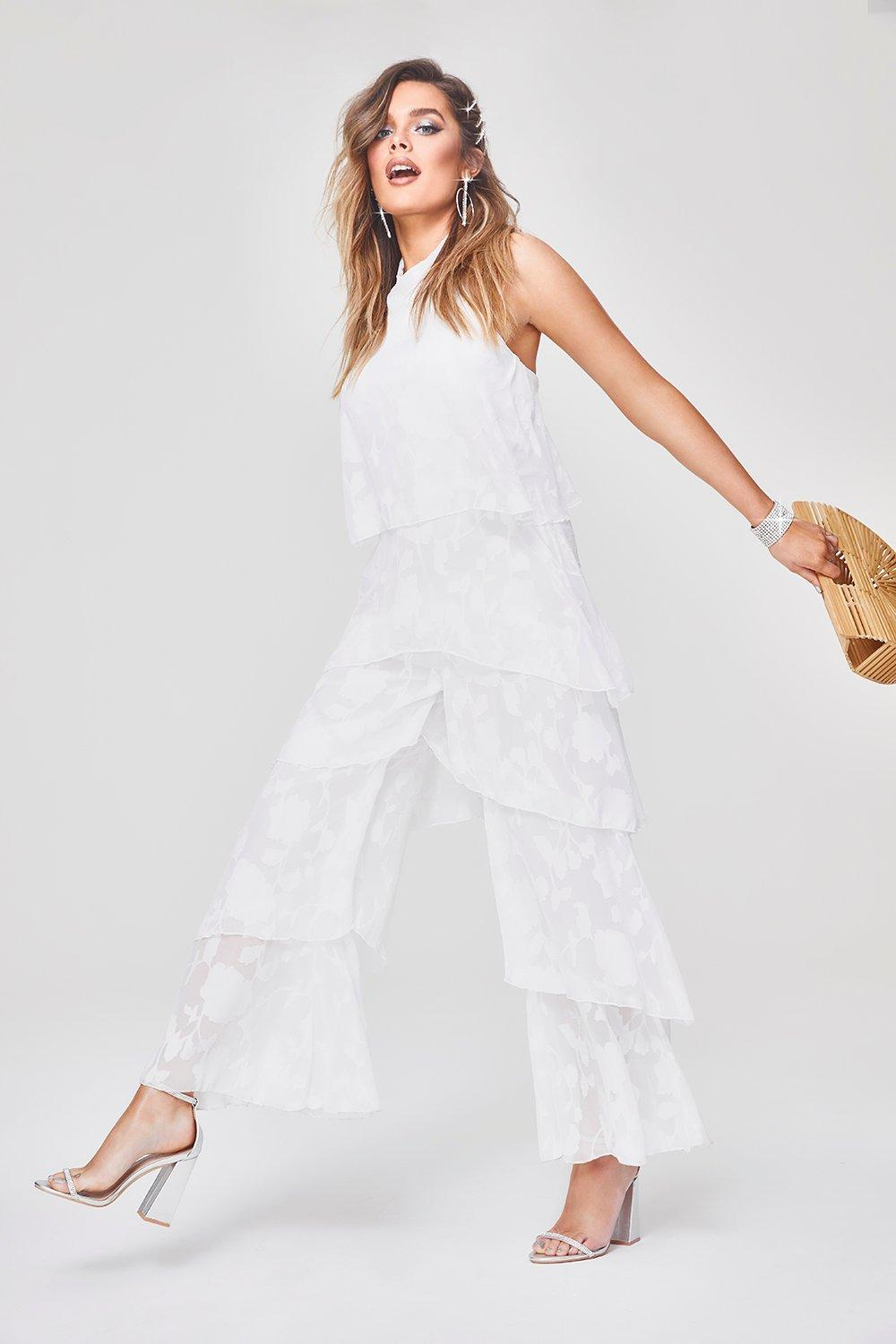 Floral Frill Layered Jumpsuit by Boohoo