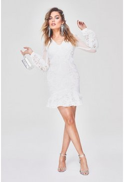 White Premium Lace Chiffon Ruffle Mini Dress