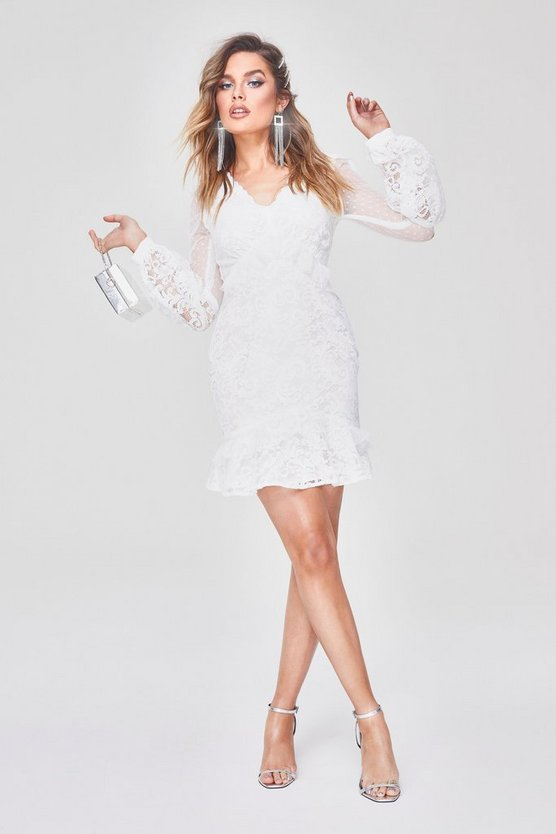 Womens White Premium Lace Chiffon Ruffle Mini Dress