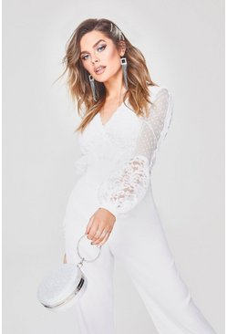 Womens White Premium V Neck Lace Chiffon Bodysuit