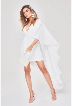 Womens White Premium Satin Belted Cape Dress