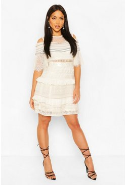Cream Premium Cold Shoulder Lace Ruffle Dress