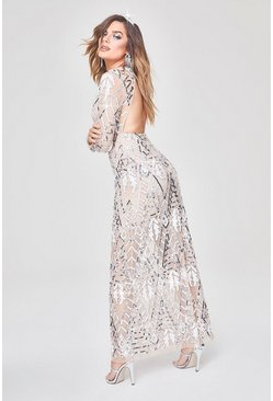 Womens Nude Premium Hand Embellished Cut Out Back Maxi Dress