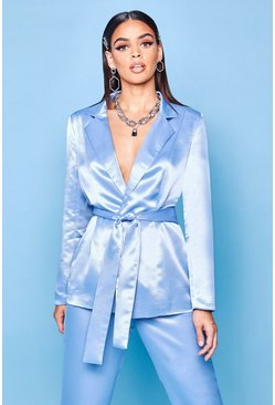 Womens Blue Premium Satin Blazer
