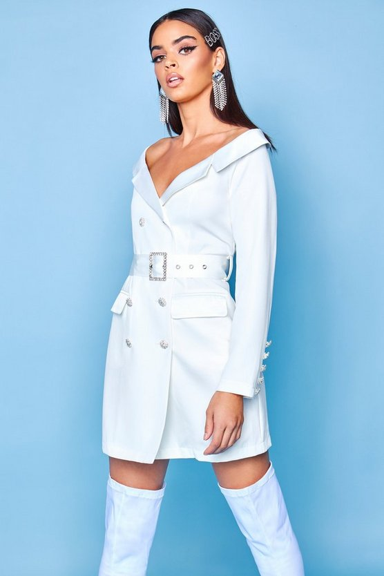Womens Ivory Premium Off The Shoulder Blazer Dress