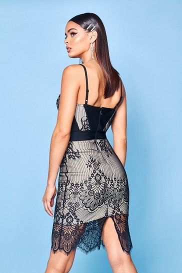 Womens Black Premium Bandage And Lace Mix Bodycon Dress
