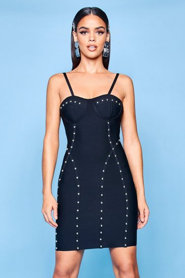 Womens Black Premium Bustier Bandage Stud Bodycon Dress