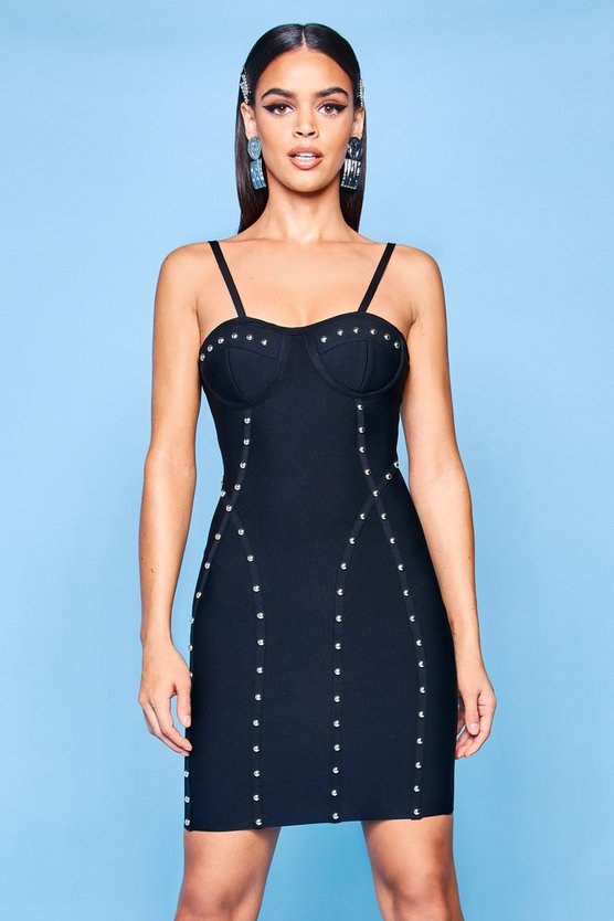 Premium Bustier Bandage Stud Bodycon Dress, Black, ЖЕНСКОЕ