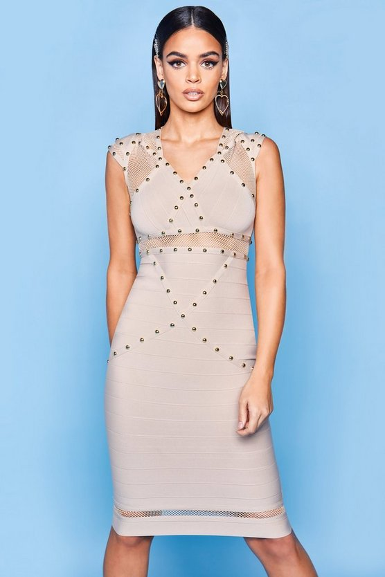Womens Stone Premium Bandage Fish Net Bodycon