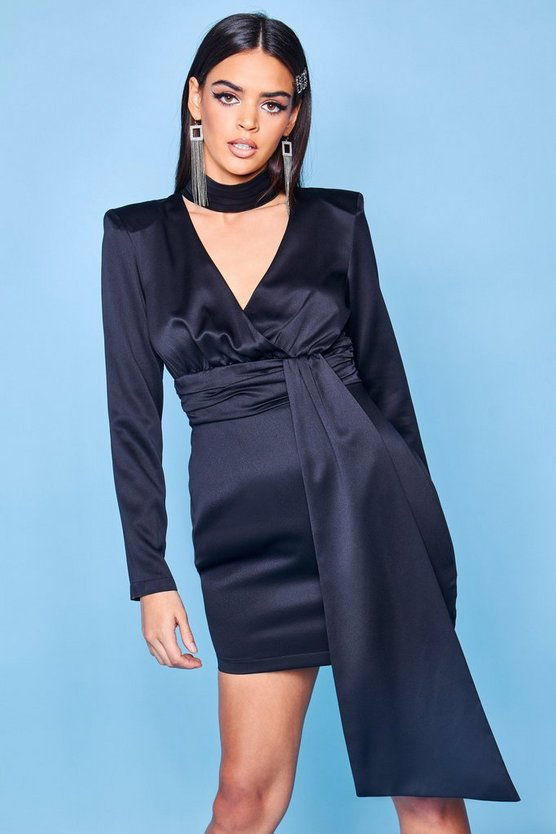 Black Premium Satin High Neck Draped Mini Dress