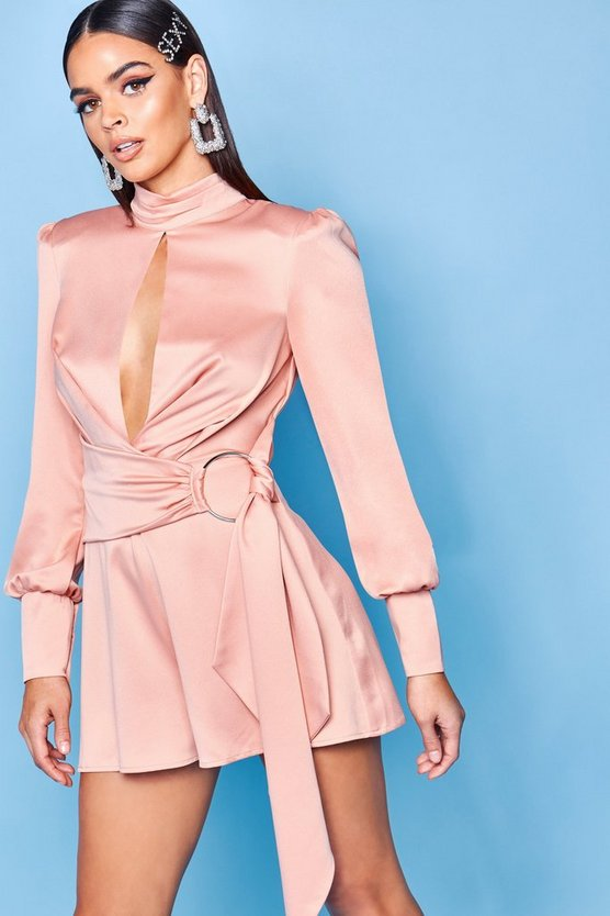 Premium High Neck Belted Playsuit