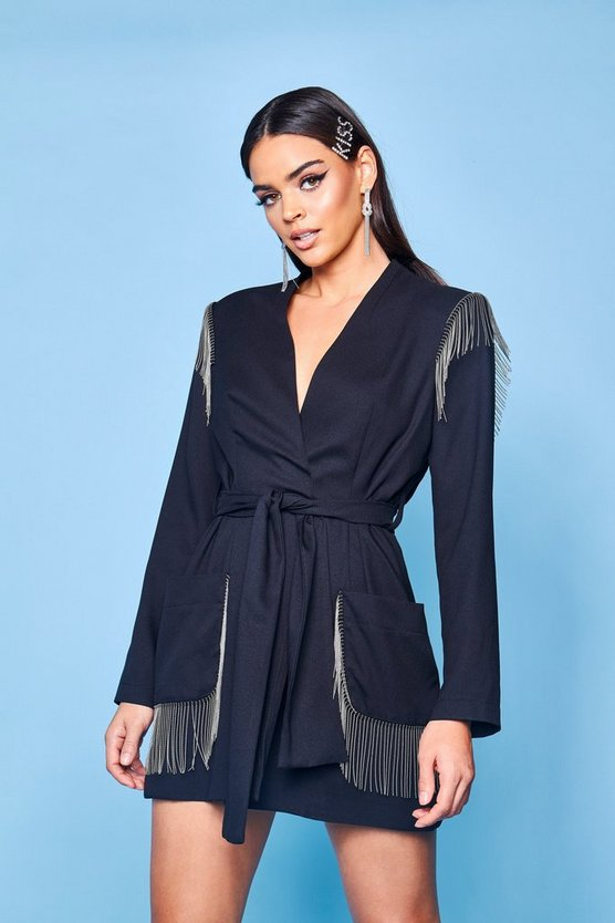 Premium Belted Fringe Trim Blazer Dress, Black, ЖЕНСКОЕ