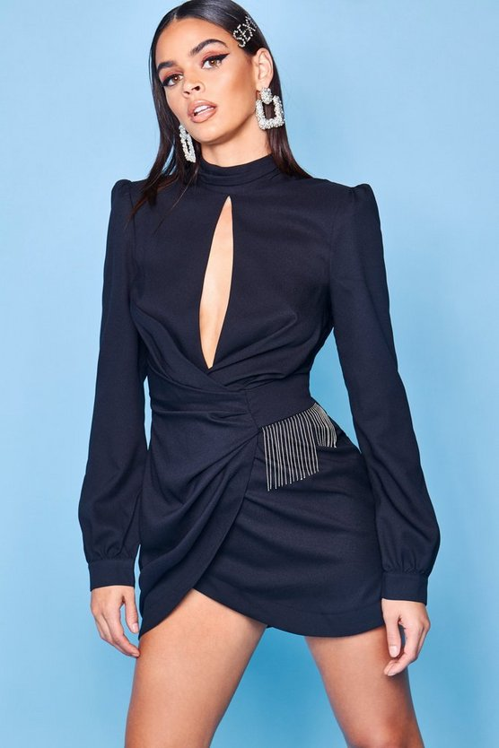 Premium High Neck Trim Detail Dress