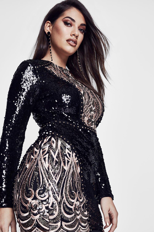 premium plus niamh sequin & embroidered dress | boohoo