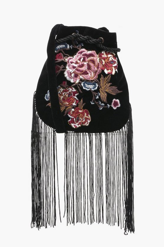 Tia Floral Embroidered Fringed Cross Body Bag