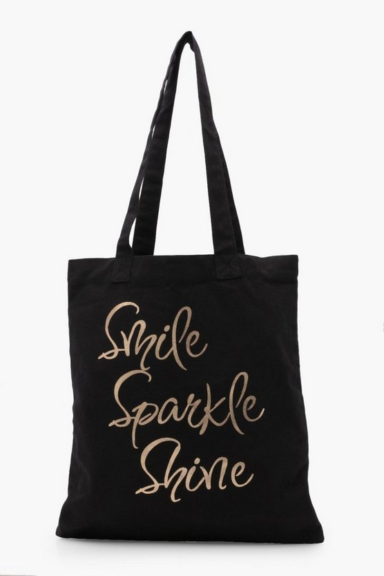 Womens Black Holly Sparkle Shopper Bag