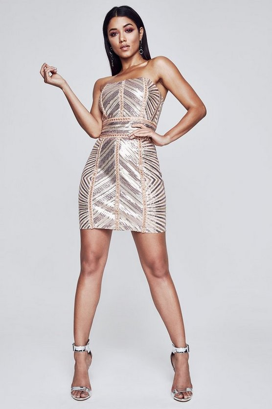 Premium Chevron Sequin Bandeau Dress