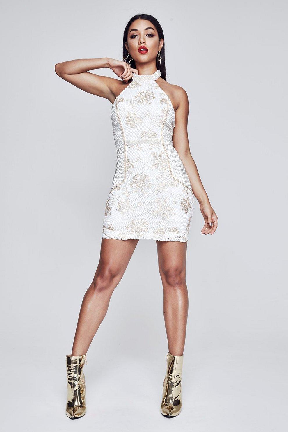 962461e1 Premium Halter Neck Mesh Dress | Boohoo