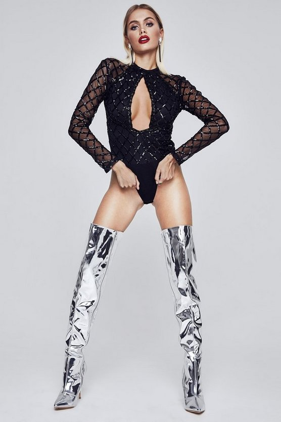 Premium Londyn Sequin Long Sleeve Bodysuit