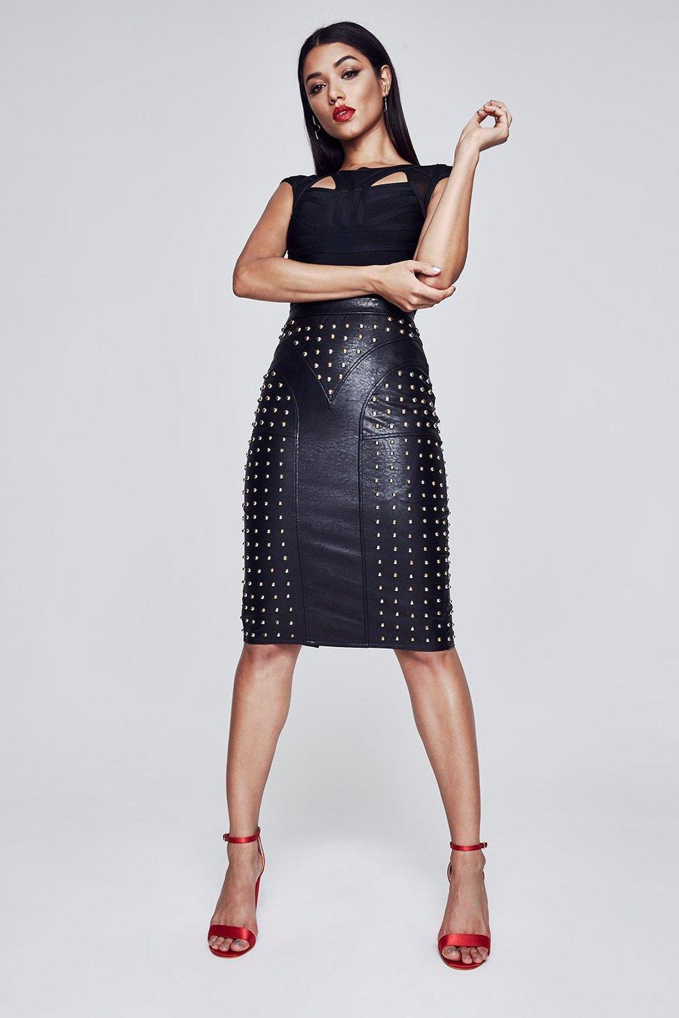 8ce3b6f62 Premium Christina Zip Through Studded Pencil Skirt   Boohoo