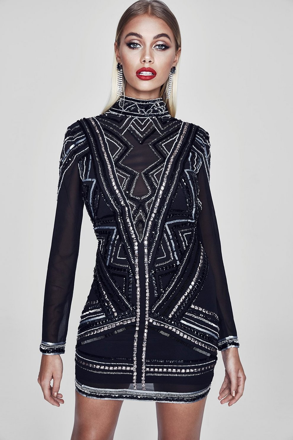 7af01524a7c Premium Eva Open Back Embellished Mini Dress