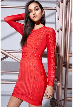 Womens Red Premium Aria Lace Up Bandage Bodycon Dress