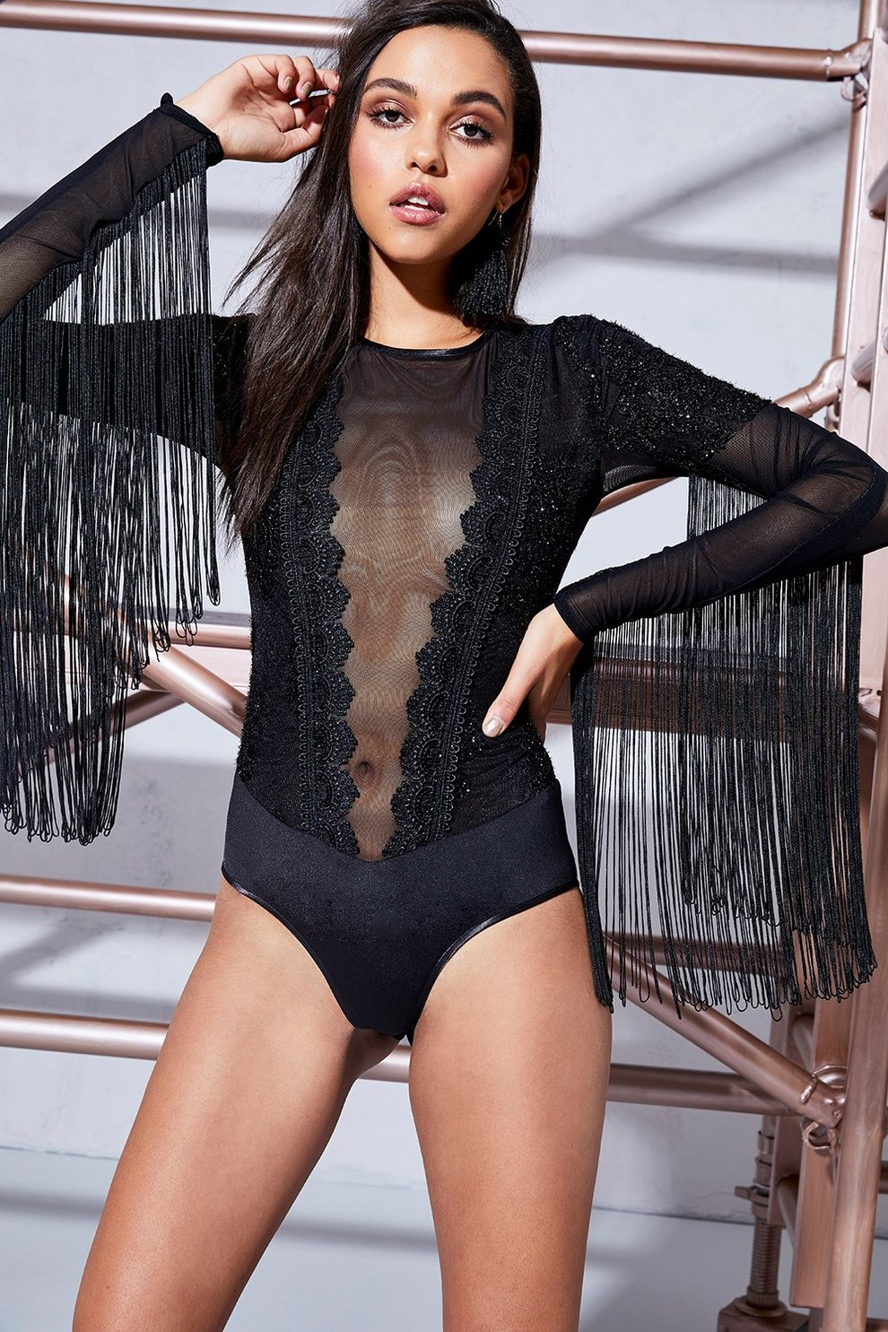 6e23686c683c Womens Black Premium Abigail Metallic Lace Tassel Sleeve Bodysuit