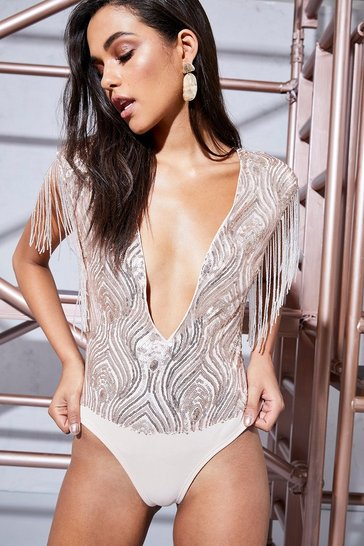 Womens Blush Premium Sophie Sequin & Buggle Bead Body