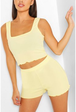 Lemon Lettuce Hem Top &  Flippy Short Beach Co-ord