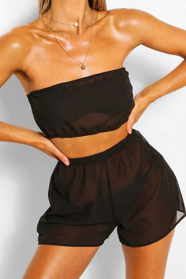 Black Bandeau & Shorts Beach Co-ord
