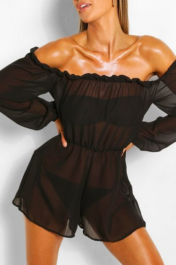 Black Frill Bardot Beach Playsuit