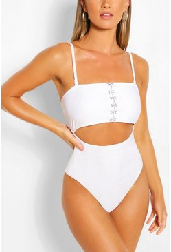 Hook and Eye Cut Out Swimsuit , White