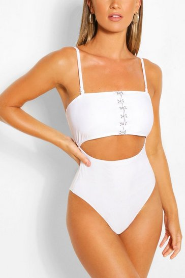 White Hook and Eye Cut Out Swimsuit