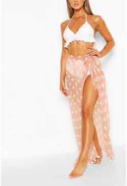 Tan Polka Dot Maxi Beach Sarong