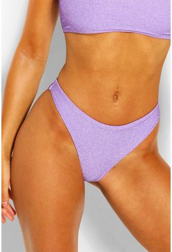 Lilac Mix & Match Glitter High Leg Bikini Brief