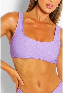Lilac Mix & Match Glitter Crop Bikini Top