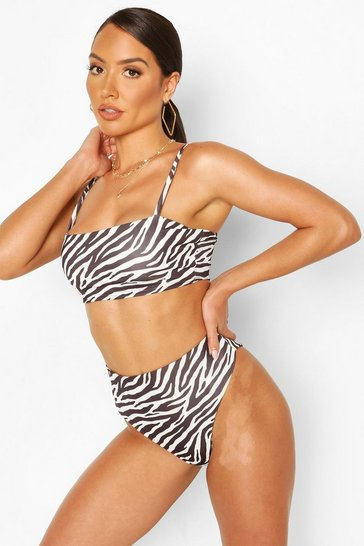 Black Zebra Print Mix & Match Bikini Brief