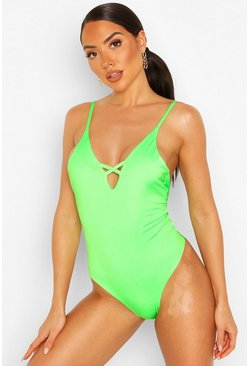 Neon-lime Neon Plunge Lace Up Back Swimsuit