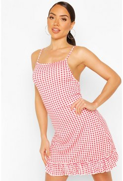 Red Gingham Mini Swing Beach Dress