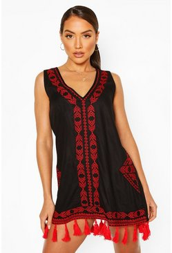 Black Embroidered Tassel Beach Dress
