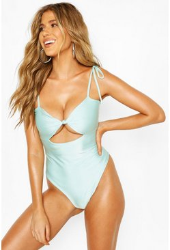 Blue Tie Shoulder Cut Out Swimsuit