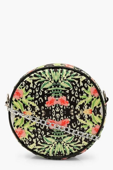 Black Abstract Animal Satin Round Cross Body Bag