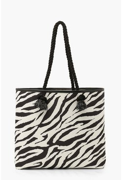 Black Zebra Canvas Rope Handle Beach Bag