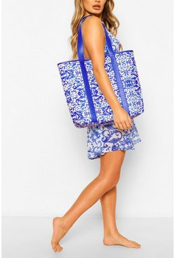 Chain Print PU Strap Beach Bag, Blue