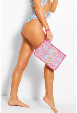 Waterproof Abstract Print PU Trim Bikini Bag, Pink