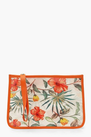 Orange Waterproof Abstract Tropical Bikini Bag