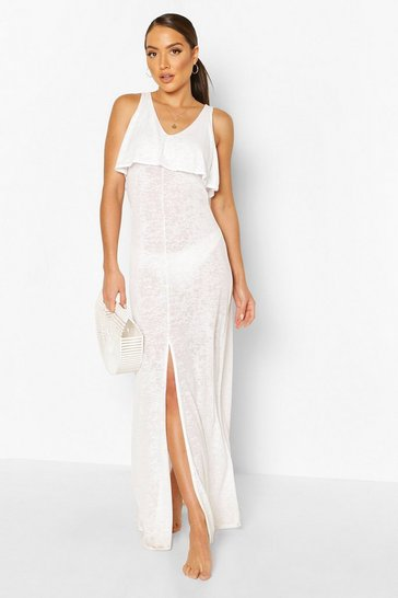 White Layered Beach Maxi Dress